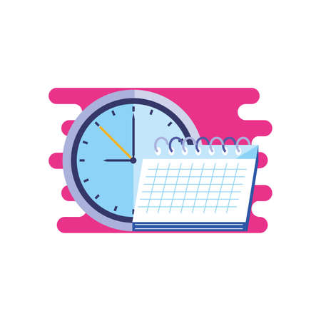 time clock watch with calendar reminder vector illustration design