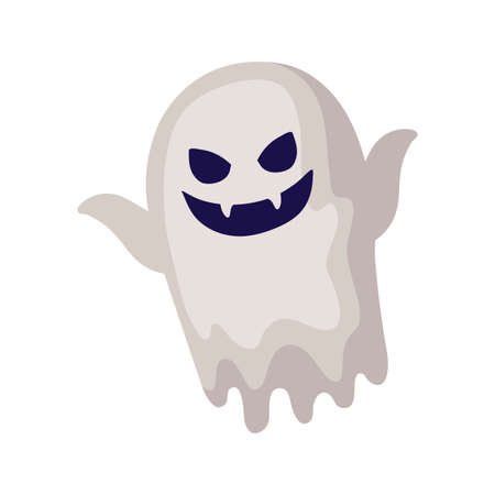 spooky halloween ghost on white background vector illustration design Ilustracja