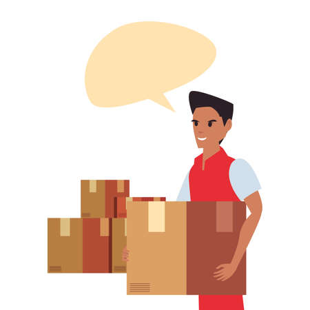 man employee packages talk bubble fast deliveryvector illustration