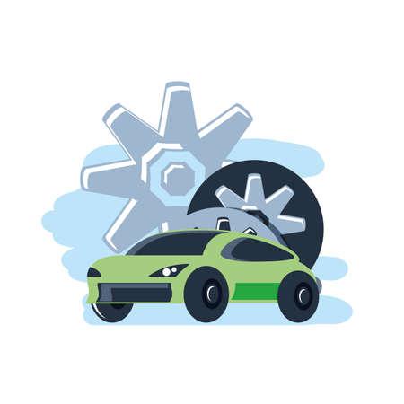 car sedan transportation with gears pinions vector illustration design Illustration