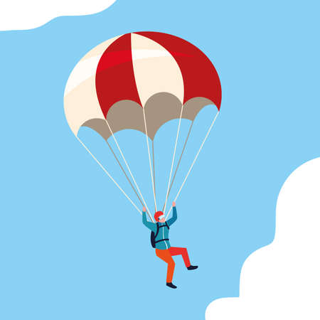 man skydiver in air with parachute open vector illustration design Ilustracja