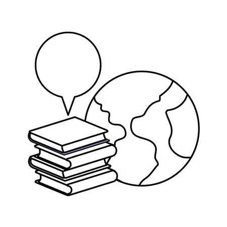 pile of textbooks with planet earth and speech bubble vector illustration design