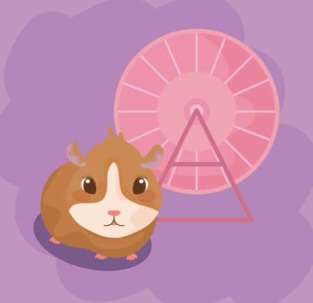 guinea pig baby animal with toy roulette vector illustration design