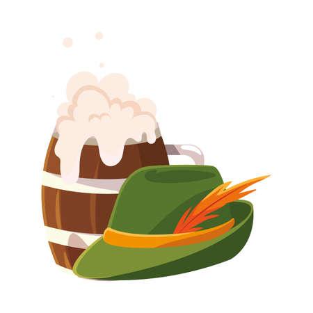 wooden beer mug with german hunting hat in white background vector illustration design