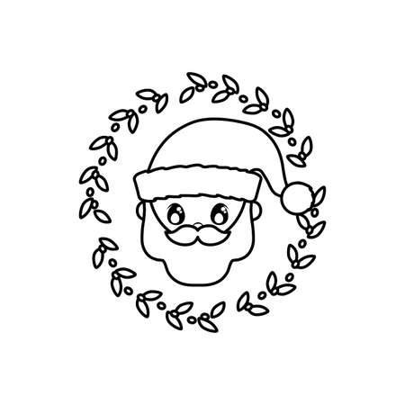 head of santa clous with wreath in white background vector illustration design Illusztráció