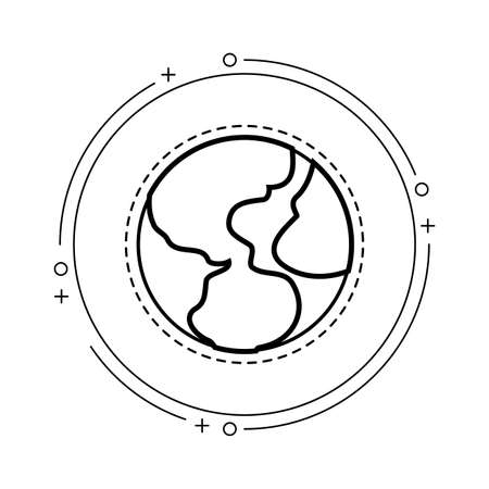patch of world planet earth in frame circular vector illustration design Illusztráció