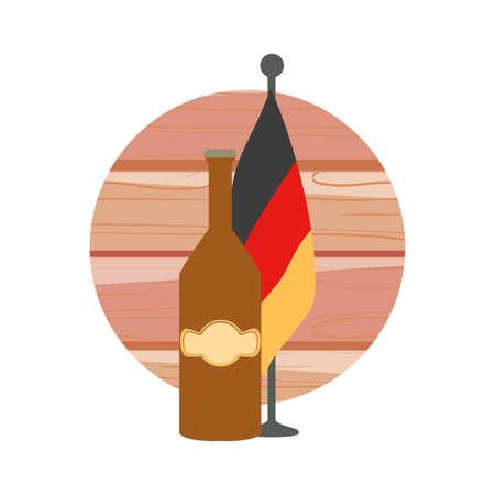 bottle of beer with germany flag in pole oktoberfest festival vector illustration design