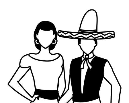 Mexican couple design, Mexico culture tourism landmark latin and party theme Vector illustration