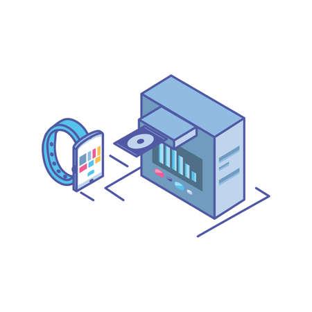 smart watch with server equipment vector illustration design