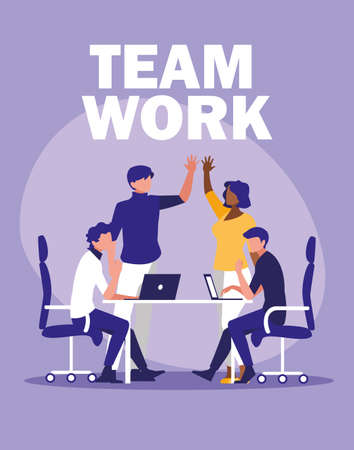 business people teamwork in the workplace vector illustration design