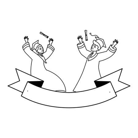 young couple students graduated celebrating with ribbon vector illustration design