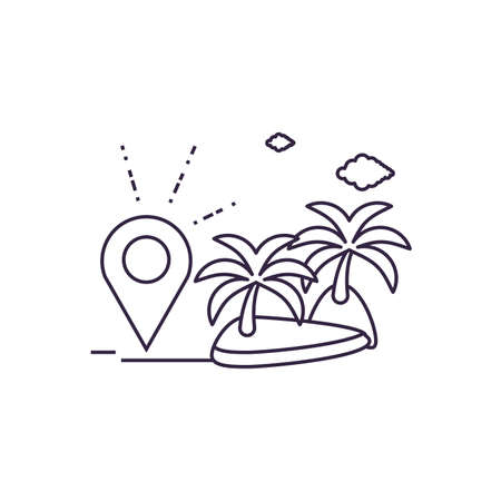 island beach with pin location vector illustration design Ilustrace