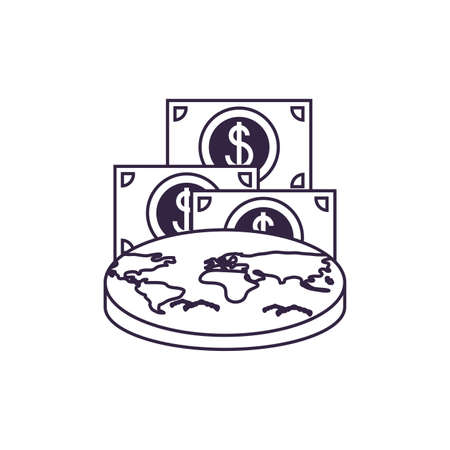 world planet earth with bills dollars vector illustration design