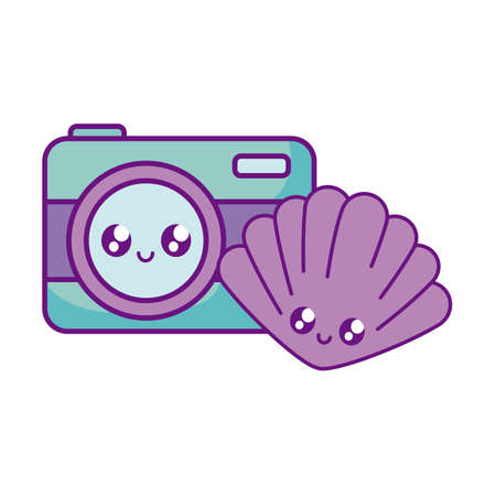 photographic camera with seashell kawaii vector illustration design Stock fotó - 140368471