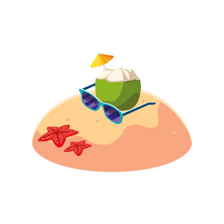 summer sand beach with coconut cocktail scene vector illustration design