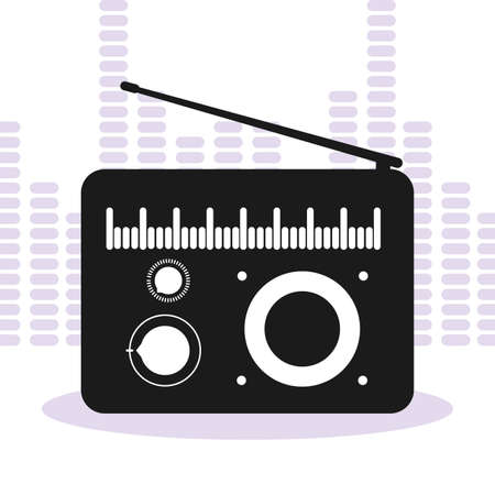 banner with old radio music vector illustration design
