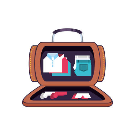 travel suitcase equipment open with accessories vector illustration design