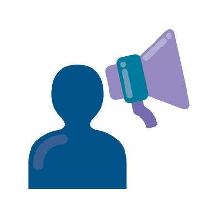 silhouette person avatar with megaphone vector illustration design Vettoriali