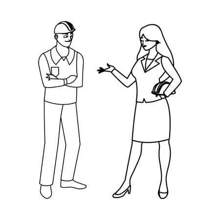 male builder constructor with woman engineer vector illustration design Ilustración de vector