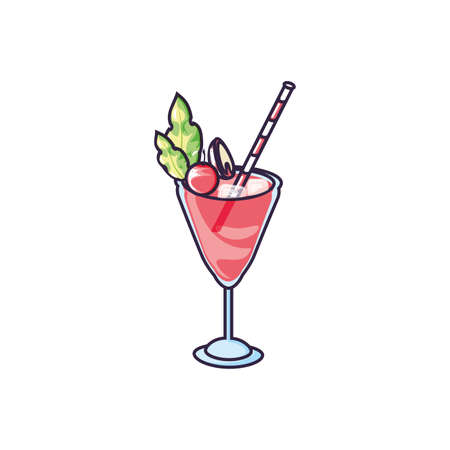 delicious fresh cocktail cup icon vector illustration design Ilustrace