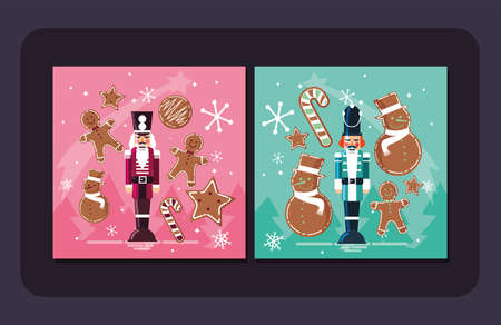 Nutcrackers and cookies design, Merry chritmas winter season decoration card invitation celebration and holiday theme Vector illustration