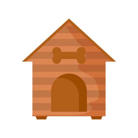 cute wooden dog house on white background vector illustration design Ilustração