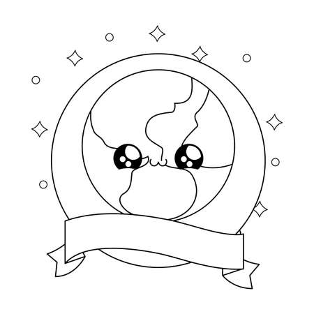 world planet in frame circular with ribbon kawaii style vector illustration design