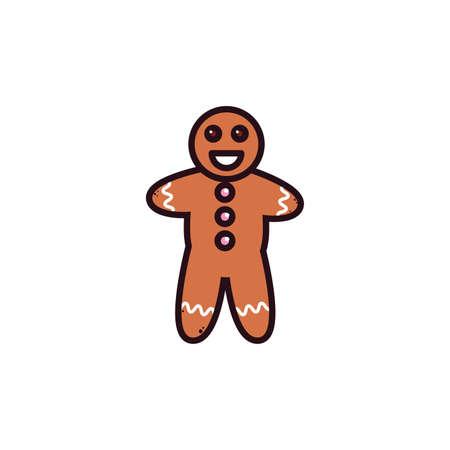 gingerbread man in white background vector illustration design 矢量图像