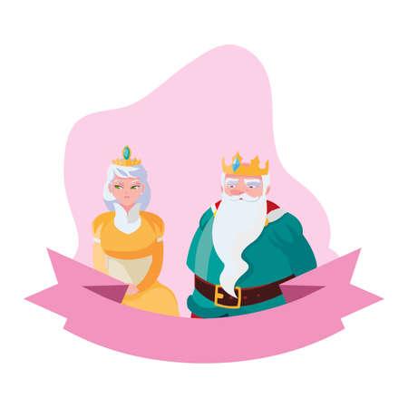 king and queen characters vector illustration design Ilustração