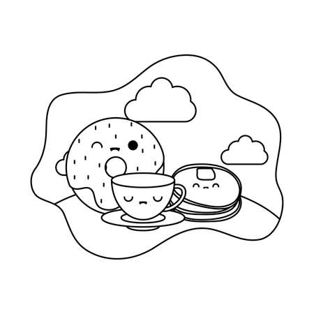 cup ceramic with set food in landscape kawaii style vector illustration design Ilustração