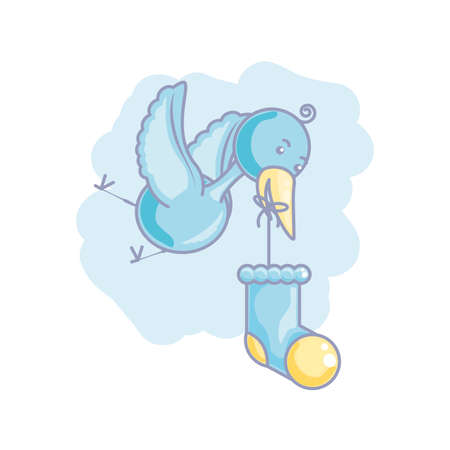 cute sock baby with stork flying vector illustration design