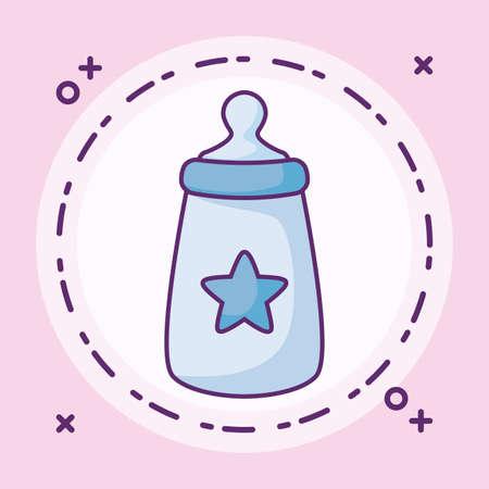 bottle milk baby with star in frame circular vector illustration design Illustration