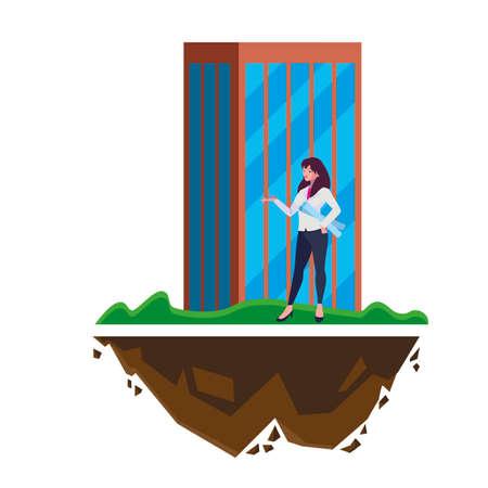 female engineer worker with building vector illustration design