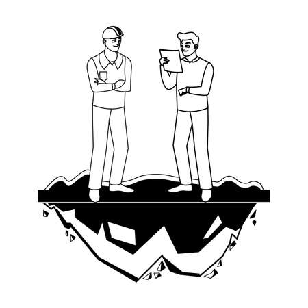 male builders constructors workers on the lawn vector illustration design Ilustracja