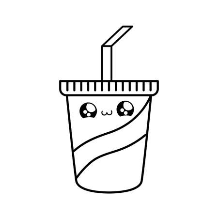 container beverage with straw kawaii style vector illustration design