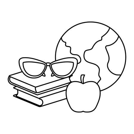 pile of textbooks with eyeglasses and planet earth vector illustration design