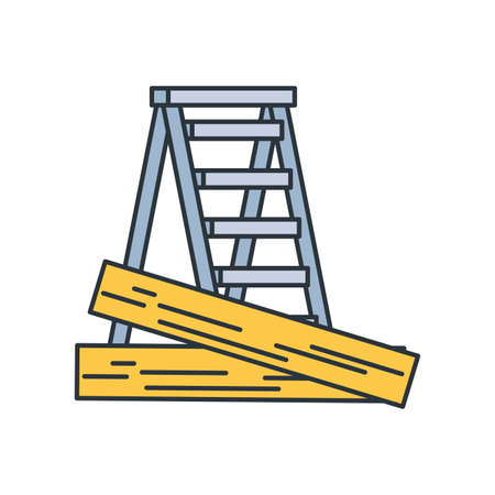 Wood and ladder design, under construction work repair progress reconstruction industry and build theme Vector illustration