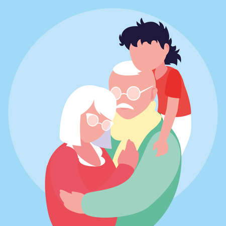 cute old couple hugged with grandson vector illustration design