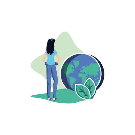 Woman avatar and planet design, Sustainability eco friendly green recycle ecology renewable and solution theme Vector illustration Ilustração