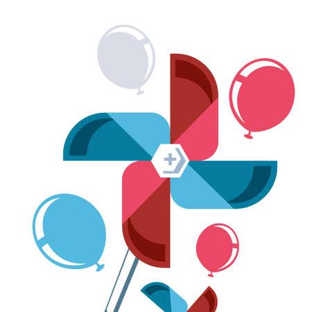fans windmills with balloons helium vector illustration design Ilustracja