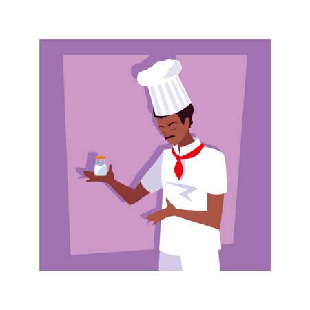 man cooking, chef in white uniform vector illustration design
