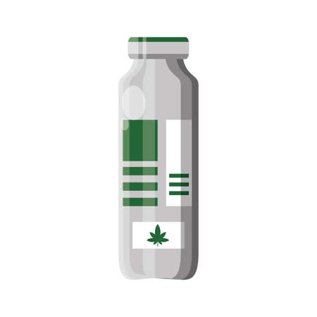cannabis bottle product medicine icon vector illustration design