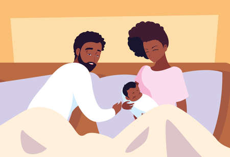 parents afro with baby boy resting in bed vector illustration design