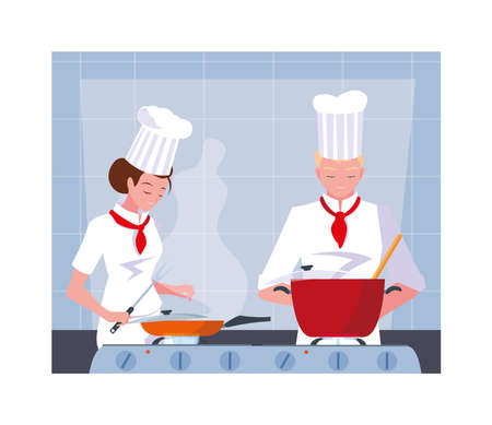 couple of people cooking, a couple of chef with white uniform vector illustration design