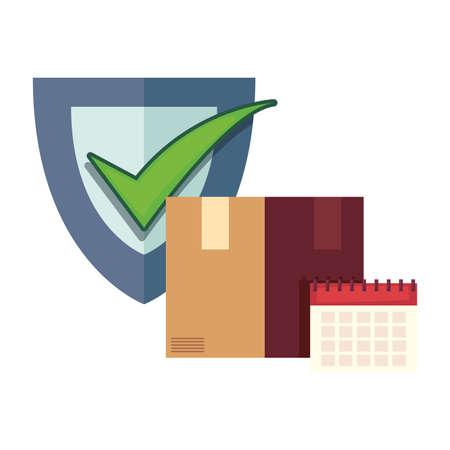 cardboard box check mark calendar fast delivery vector illustration Ilustracja