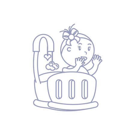 baby girl in cute baby crib vector illustration design Vettoriali