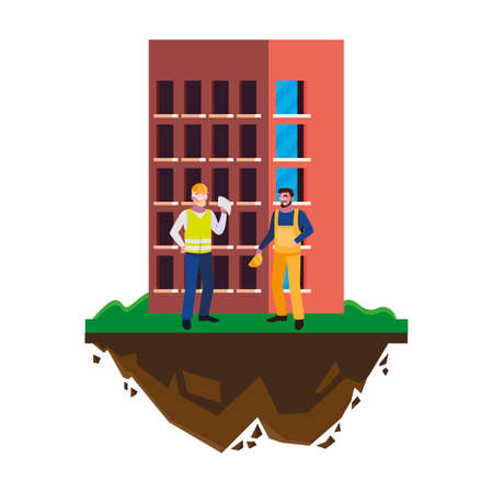 male builders constructors workers with building vector illustration design