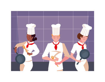 group of people cooking, set of chef with white uniform vector illustration design