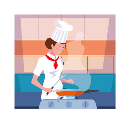 woman cooking, chef in white uniform vector illustration design