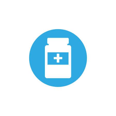 bottle of pills, block and flat style icon vector illustration design